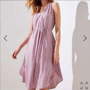 Loft lavender tie wast dress NWT XL